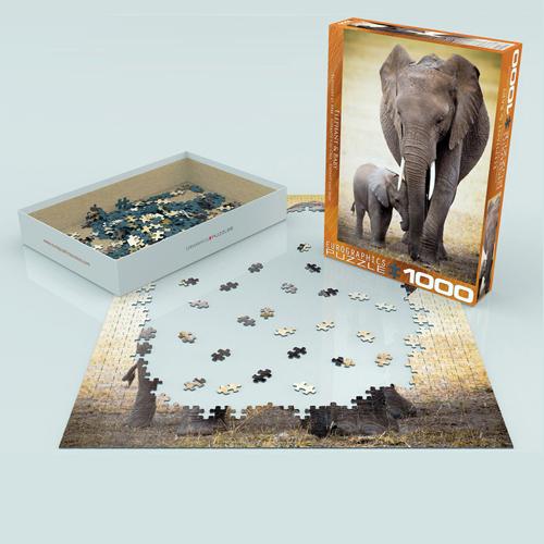 פאזל 1000 חלקים איכותי מבית EUROGRAPHICS דגם 6000-0270 Elephant & Baby