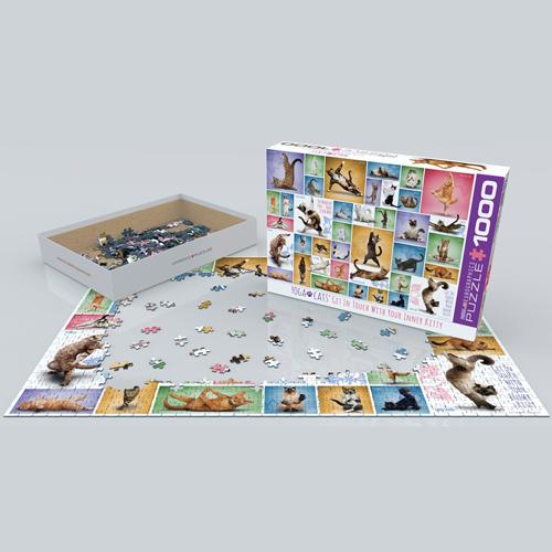 פאזל 1000 חלקים איכותי מבית EUROGRAPHICS דגם 6000-0953 Yoga Cats