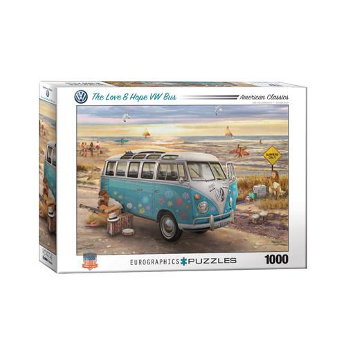 פאזל 1000 חלקים איכותי מבית EUROGRAPHICS דגם 6000-5310 The Love & Hope VW Bus