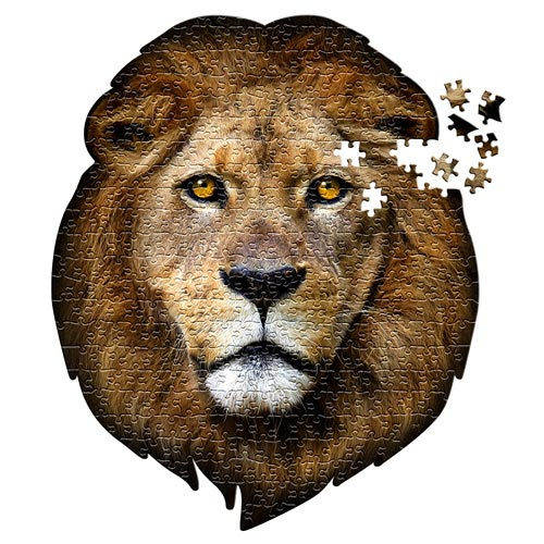 פאזל ייחודי בצורת ראש של אריה